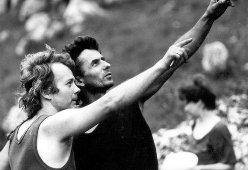 Ludwik Wilczyński z reżyserem filmu Mój mały Everest Mirkiem Dembińskim