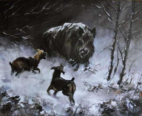 329433909 1_644x461_zimowy-pejzaz-mysliwski-dzik-dziki-psy-polowanie-mysliwego-na-prezent-zielona-gora