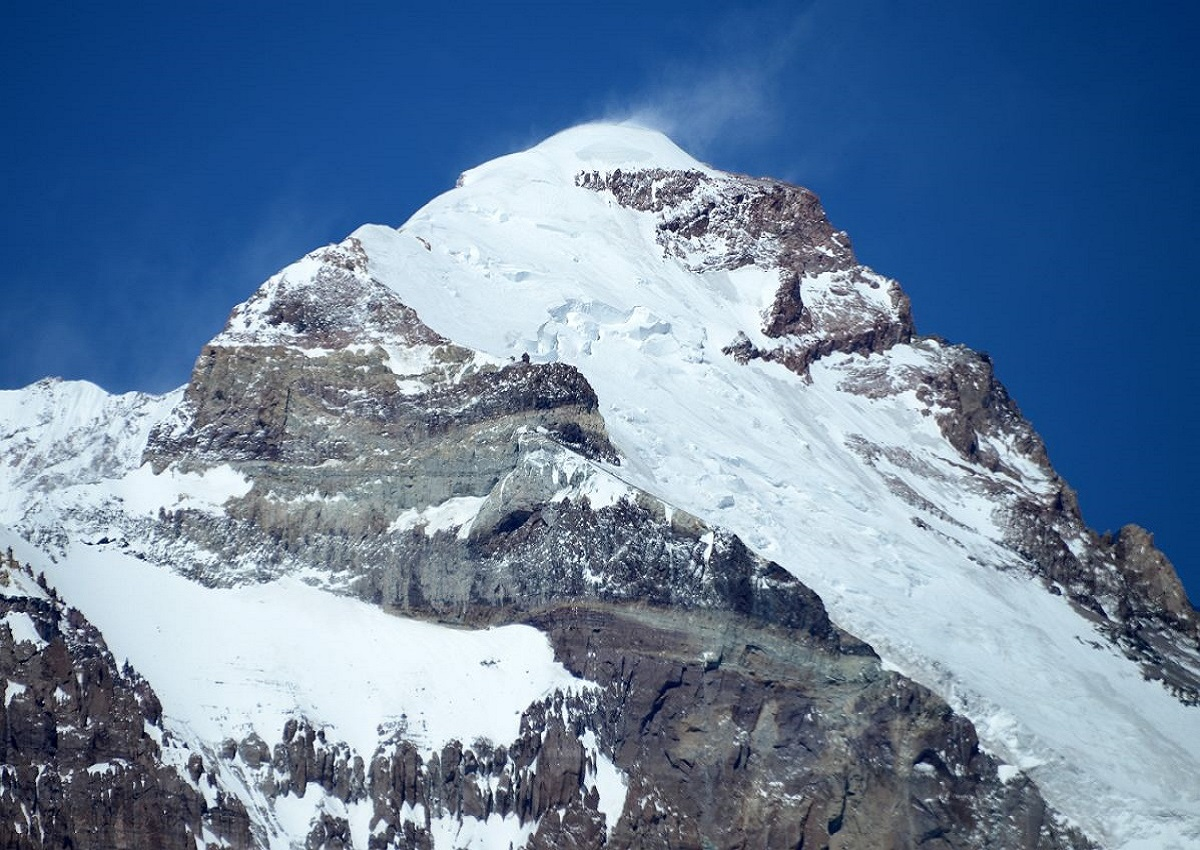 11 Aconcagua_East_Face_And_Polish_Glacier_Close_Up_From_The_Relinchos_Valley_Between_Casa_de_Piedra_And_Plaza_Argentina_Base_Camp
